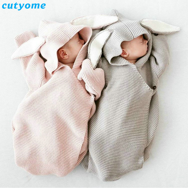 Newborn Sleeping Bag Winter Stroller bed swaddle blanket wrap Rabbit Ear Long Sleeve Costumes Knitted Sleep Sack Swaddle Wrap<br>