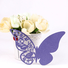 Top selling 50 pcs Table Mark Wine Glass Cards Favor Butterfly Name Place Party Wedding decoration
