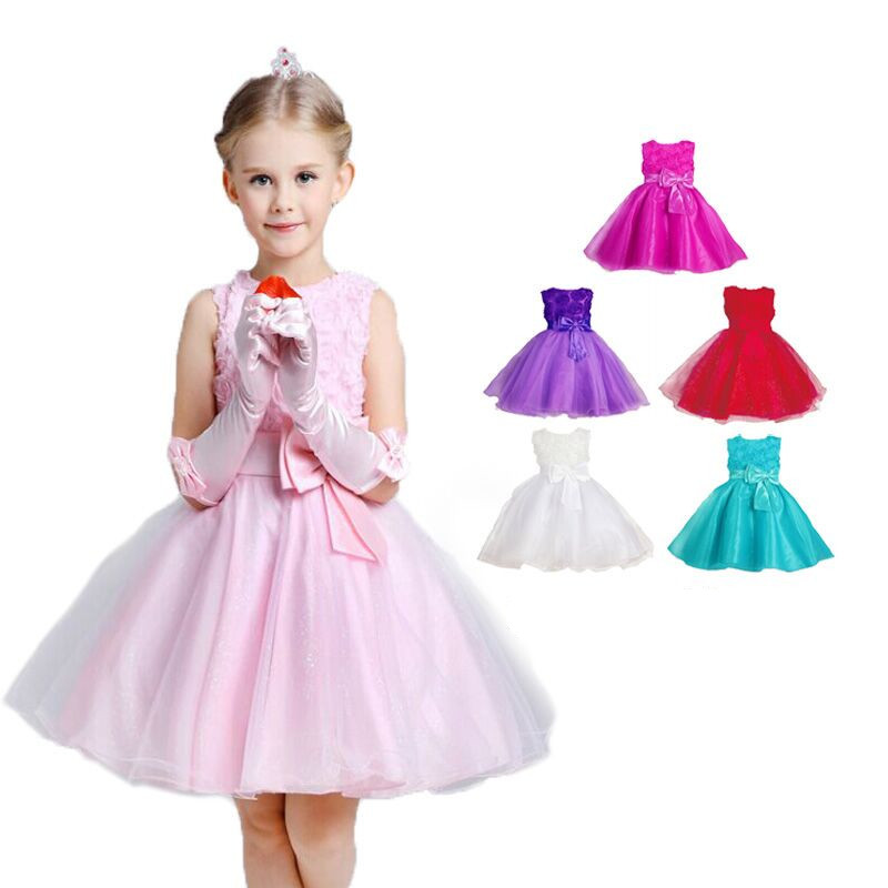on sale!!! 2017 Girls dresses baby Girls Red Rose princess dress Kids Wedding Party Dresses fashion costume children clothing<br><br>Aliexpress