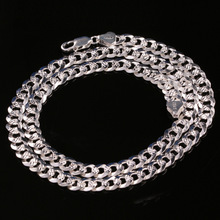 925 sterling silver fashion 8MM hand car flower whip necklace men c clavicle chain