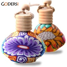 Refillable print perfume bottles polymer clay Empty Bottles small perfume Atomizer Car Pendant Personalized Gifts CR0118(China)