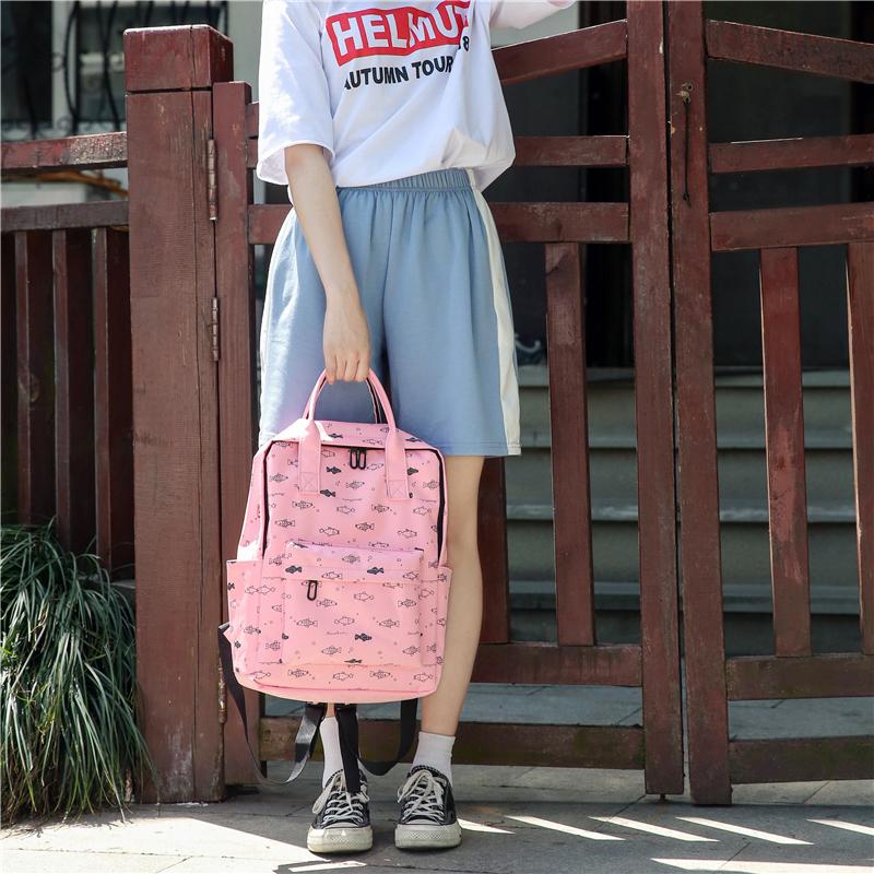 Menghuo Fish Printing Women School Bag Backpack for Teenage Girls Backpacks Female Canvas Children Schoolbag Women Bag s (48)