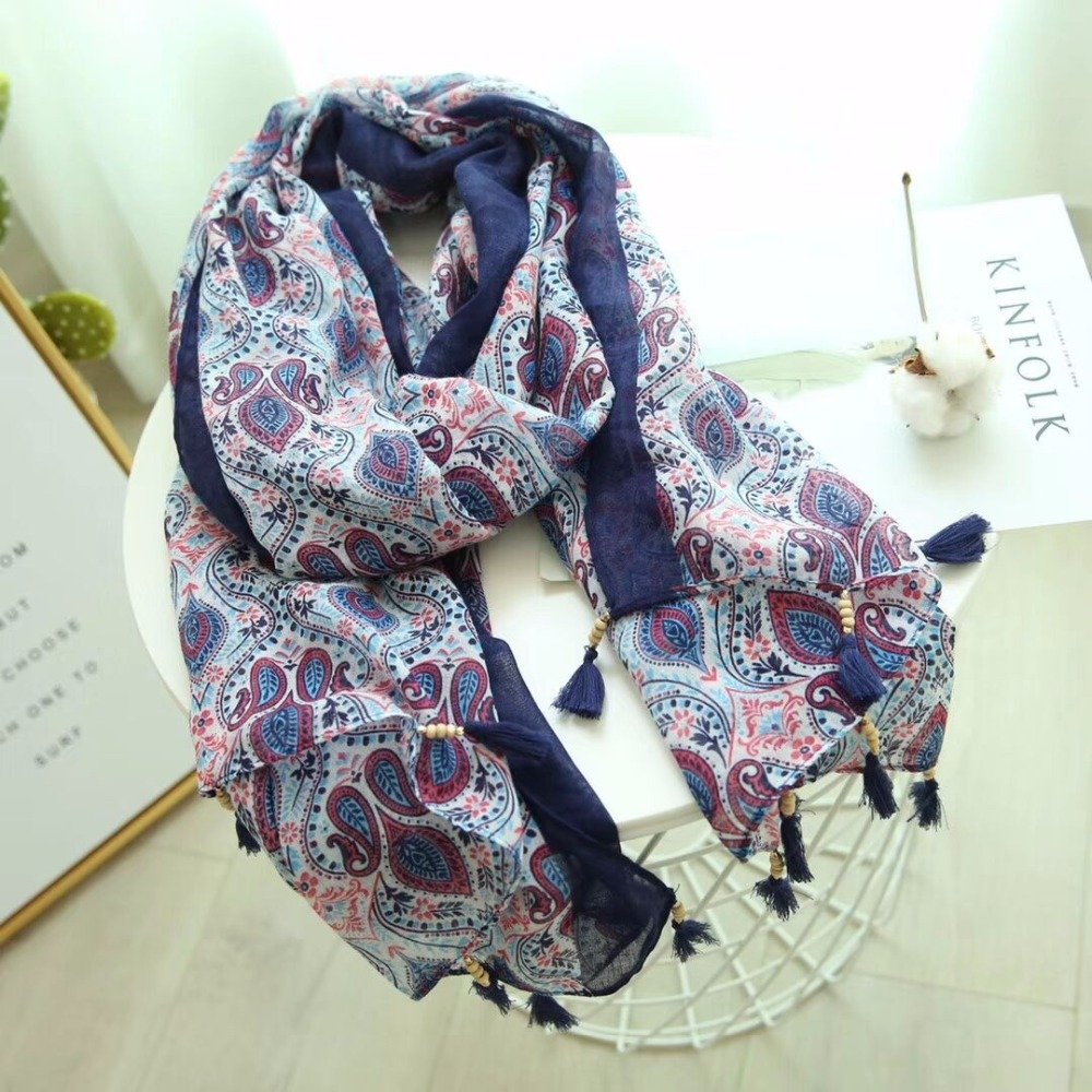 Fashion Newest Women Vintage Floral Pattern Beads Tassel Cotton Scarf Shawls 10pcs/lot
