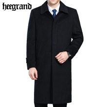 HEE GRAND Men's Wool Coats & Jackets Winter Cashmere Man Long Overcoat Turn-down Collar Casual Woolen Coat  MWN227