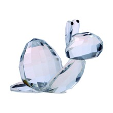 2.4*2.1 inch Clear Crystal Ornament Snail Paperweight Home&Wedding Art&Collection Tabletop Decorations