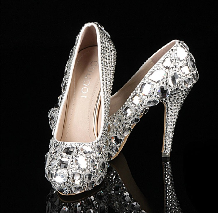 Gorgeous Luxury High Heel Bridal Shoes with Platform for Woman Lady Party Prom Dress Shoes Crystal high heel wedding shoes<br><br>Aliexpress