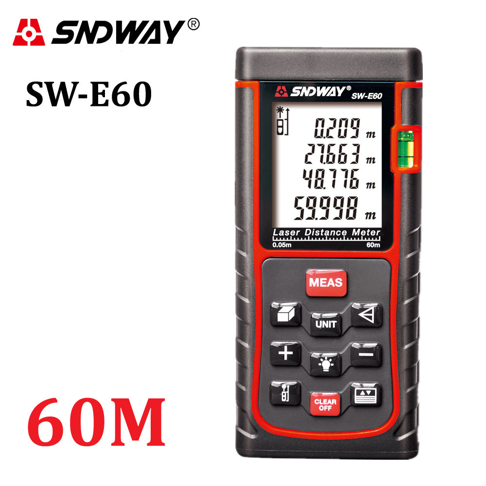 SNDWAY-E60 197ft Laser distance meter Rangefinder Digital Range Finder 60m Area-volume-Angle hunting laser measure tape tool<br>