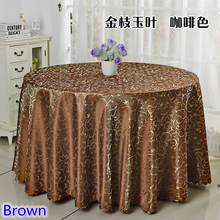 Brown colour jacquard table cloth damask pattern table cover for wedding hotel and round table linen decoration wholesale(China)