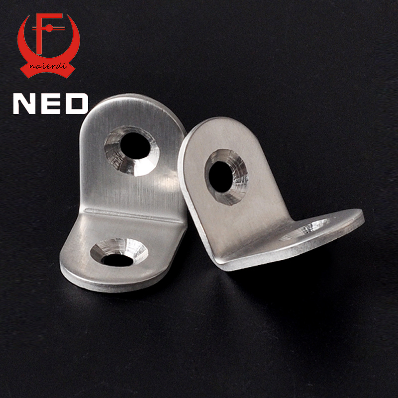 NED 10PCS 20x20mm Practical Stainless Steel Corner Brackets Joint Fastening Right Angle Thickened Brackets For Furniture Home<br><br>Aliexpress