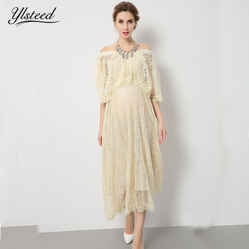 2017 Beige Lace Maternity Dresses for Photo Shoot Maternity Gowns Maternity Photography Props Vestido Maternidade Fotografia<br>