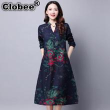 2017 Spring And Autumn New Folk Style Dress Size Cotton Loose Long Sleeve Traditional Chinese Clothing For Women dresses(China)