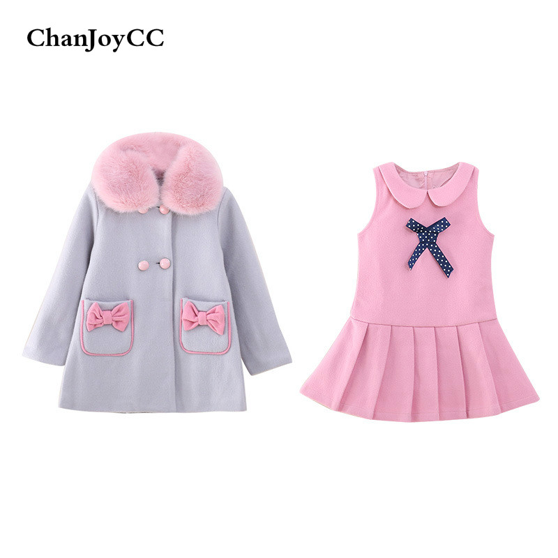 ChanJoyCC Autumn Winter Hot Sale childrens Set Cute Girls Woolen Dress + jacket With Bowknot Two-piece Cotton Suit <br>