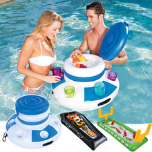 Inflatable Ice Bucket Pool Floats Beer Drink Supplier Kids Adult Summer Swimming Party Fun Kid Water Floating Island Buoy Toys