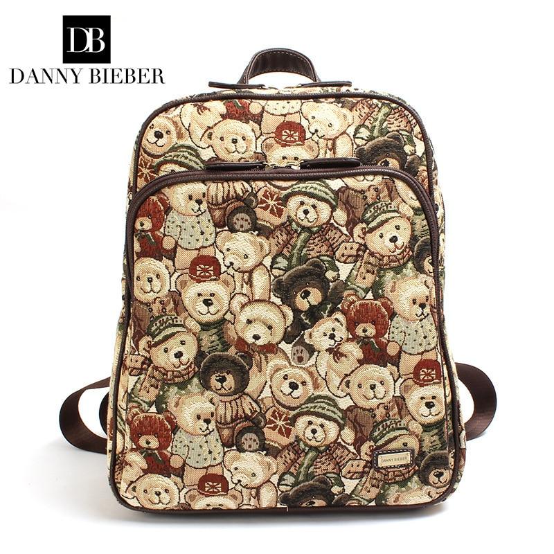 Hot sale 2017 Korean bears printing designer women canvas backpacks England famous brand girl teenagers school travel backpacks<br><br>Aliexpress