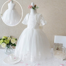 2018 Luxury Princess White Dresses for girls ball gowns for wedding frocks baptism birthday party girl dress Kids Clothes Child(China)