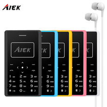 AIEK X7 Ultra Thin Card Mobile Phone 4.8mm telephone AEKU X7 SOYES X6 Low Radiation mini pocket students personality children ph(China)