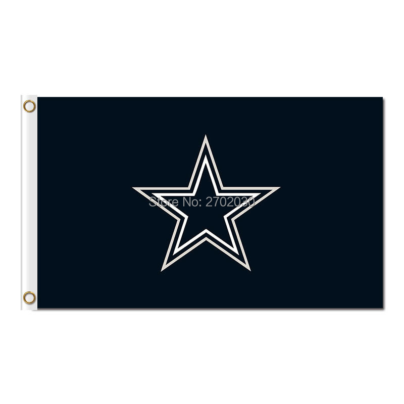 Black Star Dallas Flag Cowboys Banner World Series 2016 3ft X 5ft Premium Team Jersey Banner Coutom Dallas Cowboys Flag(China (Mainland))