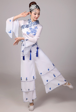 chinese folk dance Clothes blue and white porcelain national costume clothes ballroom dance clothes(China)