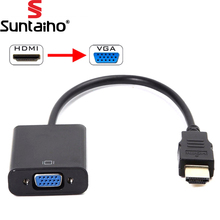 HDMI to VGA Cable HDMI Male to VGA Female RGB Analog VGA Video Audio Converter Adapter Cables HD 1080P forPC Laptop DVD(China)