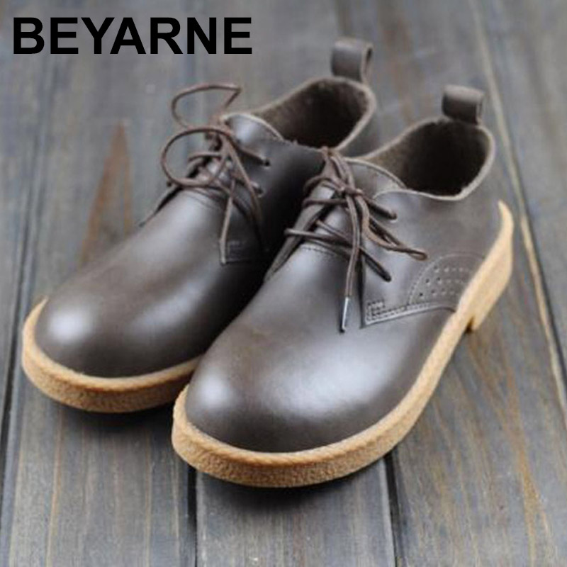 BEYARNE Womens Shoes Flat Round toe Lace up Ladies Flat Shoes 100% Authentic Leather Oxford Shoes Female Footwear <br>