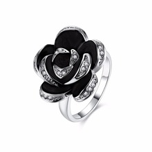 Blink Crystal Lace Black Rose Ring White Gold colour Women Flower Rings for woman wedding gift