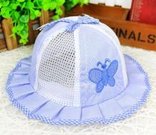 Newborn Baby Hats Striped Butterfly Princess Children Bucket Hats Kids Breathable Mesh Cap Baby Infant Sun Hat(China)
