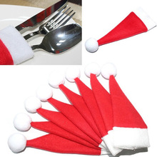 10pcs Christmas Tableware Knife Fork Set  Holder Mini Santa Claus Hat Christmas Decorations for Home Navidad New Year