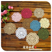 2016 new fashion 50 pic/lot 10 cm colorful crocht hook fabric felt lace flowers doily for dinning table wedding decoration(China)