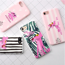 For iPhone X 8 Plus 7 Plus Case For iPhone 6S Case Silicon Candy Color Cute Zebra Pink Panther Soft TPU Cover For iPhone 7 Case(China)