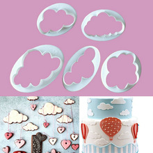 5Pcs/Set Plastic Shaped Clouds Biscuits Fondant Cake Chocolate Making Mold Embossing Mold Bakeware Decorating D0