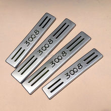 For 2014 2015 Peugeot 3008 Stainless Steel Car Door Sill Scuff Plate Threshold Welcome Pedal Trim Car Styling Accessories 4pcs