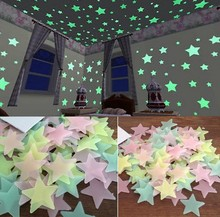 80PCS/lot Glow in Dark Fluorescent Star 3D Wall Stickers Decals Bathroom Living Room Kids Home Decor Decoration Accessories