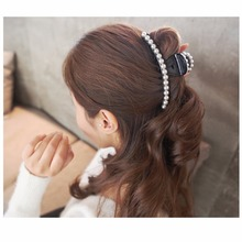 Elegant Large Artificial Pearls Hair Accessories Cute Plastic Hair Barrettes Beautiful Jaw Claws Long Hair Clips for Women HC446