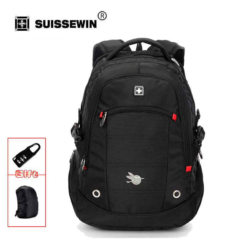 Suissewin Fashion Mens Casual Daily Backpack 15.6 inch Waterproof Laptop Backpack Student Nylon Computer Backpack SN9069<br>