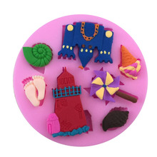 Castle & Beach Shape Fondant Cake Decorating Tool Cake Moulds Silicone Chocolate Tool Cake Mold Baking Tool(China)