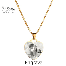 Personality Custom Necklace Pictures Image Pendant Necklace Heart Stainless Steel Engrave Necklace For Women Mujer(China)