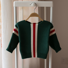 New 2018 spring and autumn children's striped sweater boys and girls a word collar striped sweater baby kids fashion sweater()