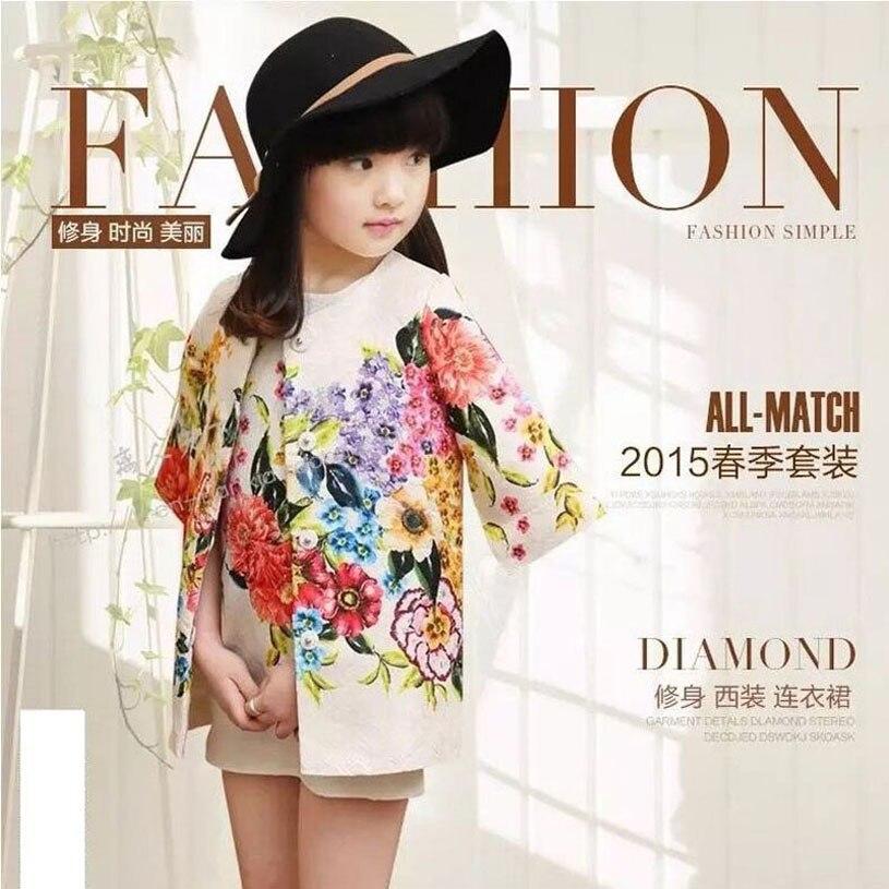 Children Clothing Set Kids Girl Clothes 2016 Girls Sets Brand Floral Dobby Kids Tracksuit(Jacket+Dress) Girls Clothing Sets<br>