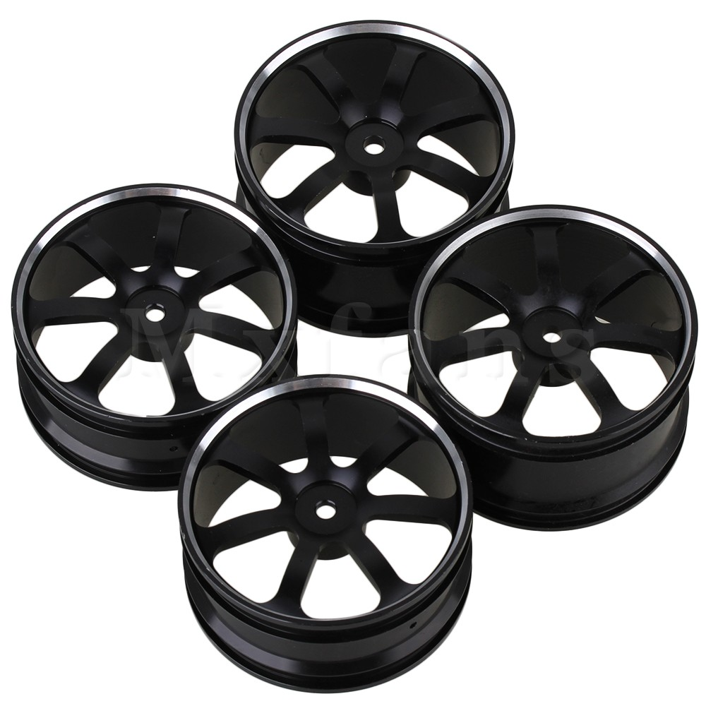 Mxfans 4pcs Silver Aluminum Alloy 7-Spoke RC 1:10 Wheel Rims for Off-Road &amp; Rally Car<br>