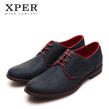 Size 40~46 Brand XPER Casual Men Dress Shoes Lace-Up Wear Comfortable Men Wedding Shoes #YM86518BL/BU(China)