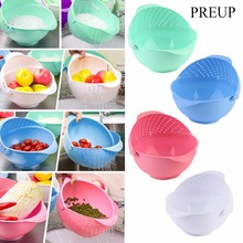 PREUP 3 in 1 Clamshell Rice Fruit Vegetable Wash Strainer Sieve Kitchen Tool Rice Wash tools drainer device strainer 4 Colors