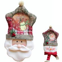 1PC New Velvet Santa Claus Snowman Wall Clocks Christmas Ornaments Decorations For Home Lovely Christmas Gift(China)