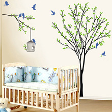 Fresh Natural Scenery Wall Sticker Home Decor Living Room Bedroom Wall Decals Removable DIY Tree Birdcage Wallpaper Decoration