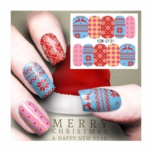 ZKO 1 Sheet Christmas Nail Sticker Water Decals Festive Festivals Designs Nail Art Water Transfer Stickers For Nails 2131