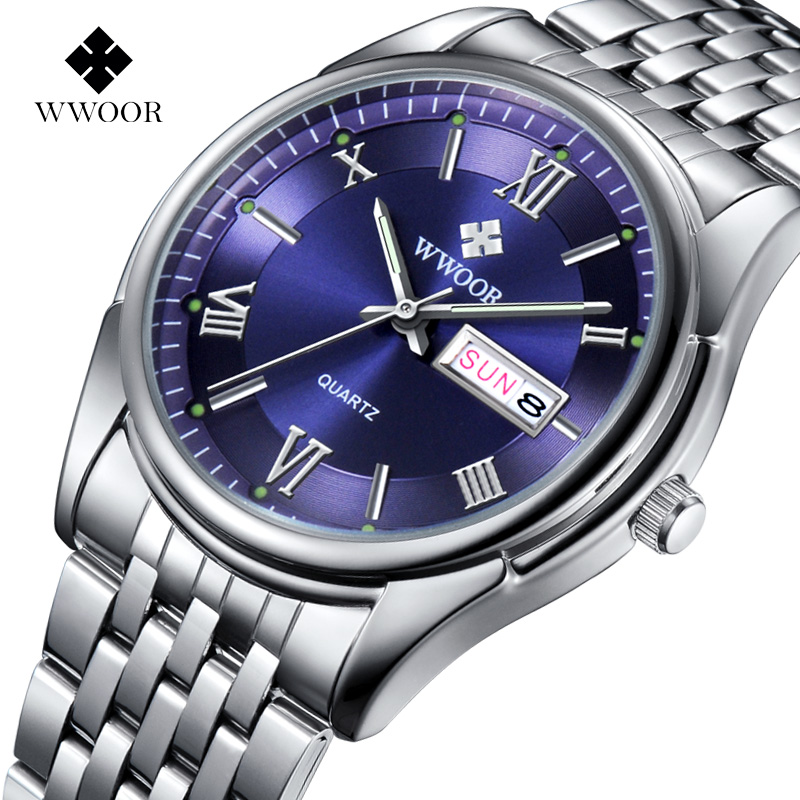 WWOOR Top Brand Fashion Mens Watches Stainless Steel Strap Quartz Men Dress Wrist Watch Casual Gift Clock Male Relogio Masculino<br><br>Aliexpress