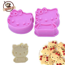 2PCS Plastic Cute Stereo KT CAT Shape Mould Sugar Arts Set Fondant Cake Tools Cookie Cutters Hello Kitty Cake Molds Kitchen Tool