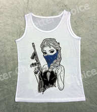 Track Ship+Fresh Vest Tank Tanks Camis Tops Top Tattoo Gangster Mask Ice Queen Girl Princess with Gun 1458(Hong Kong)