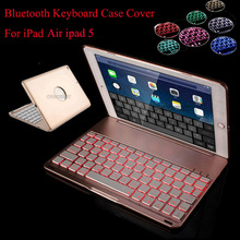 7 Colors Backlit Light Wireless Bluetooth Keyboard Case Cover For iPad air ipad 5 A1474,A1475,A1476 tablet +Screen film+stylus(China)