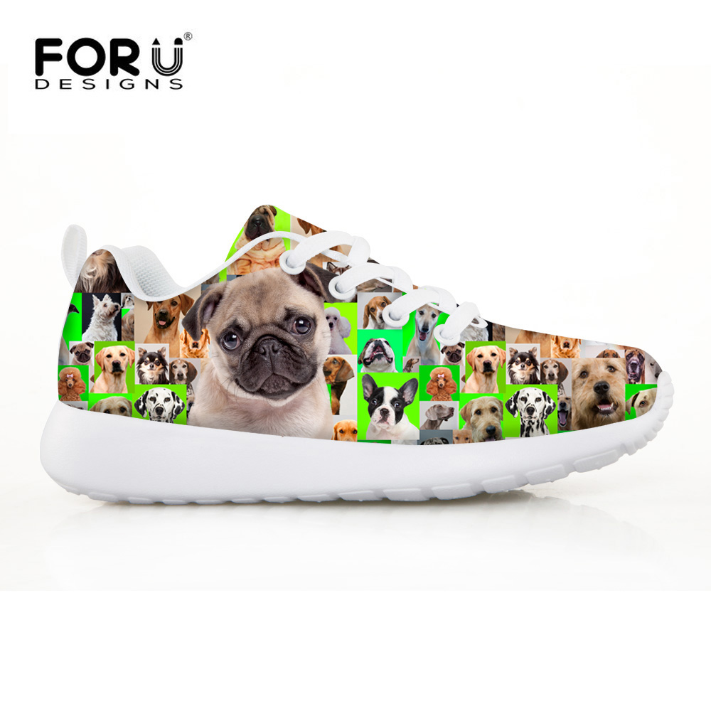 FORUDESIGNS Bulldog Cute Printing Kids Running Sneakers Sport Soft Comfortable for Childrens Flat Shoes Lace Up Low Top Walking<br>