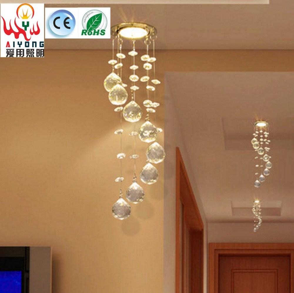 Crystal LED spotlights modern minimalist personality small chandelier entrance hall aisle Ceiling personality LED lights<br>